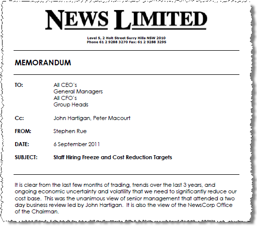 Leaked memo: News Ltd to embark on 20% cost cutting