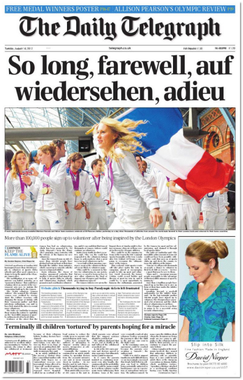 In today's Media Briefs:Jewish News defiant over boat people op-ed .... Front Page of the Day ... London Olympics a TV hit. Shock. ... MasterChef to find a new home ... The legacy of Helen Gurley Brown ...