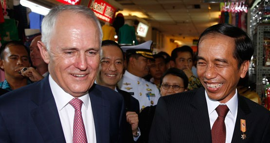 Turnbull and Widodo all smiles, but don't mention the boats. Or the drugs. Or the live cattle. Or ...
