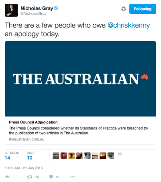 Chris Kenny's reporting passes muster at the Press Council.