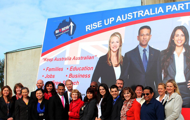 Rise Up Australia candidates in Melbourne for the official campaign launch