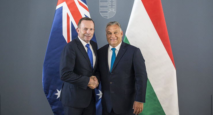 Tony Abbott and Hungarian Prime Minister Viktor Orban in Budapest (Image: Hungarian Prime Minister's Press Office/EPA)