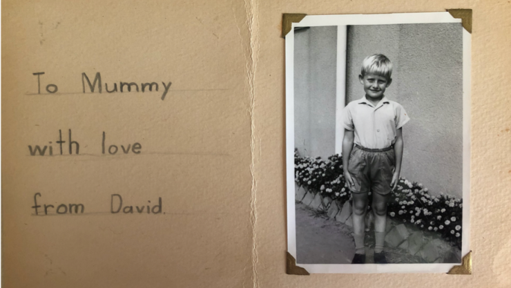 Card and photograph of David Harris as a child