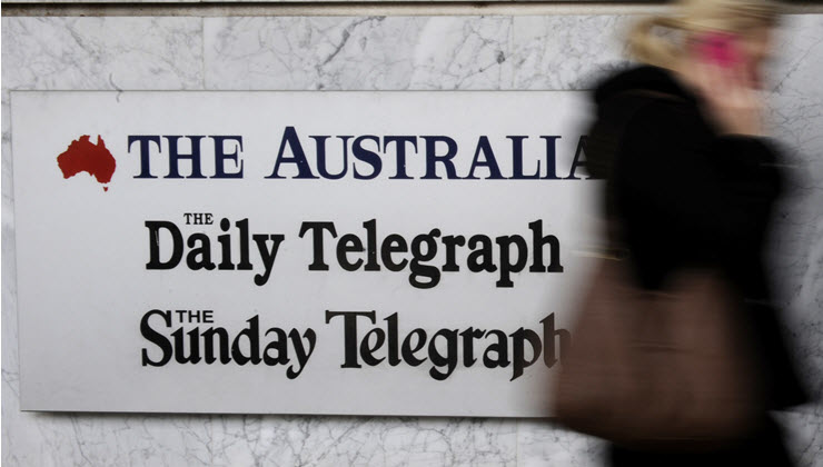 The Australian, The Daily Telegraph and The Sunday Telegraph logos on building