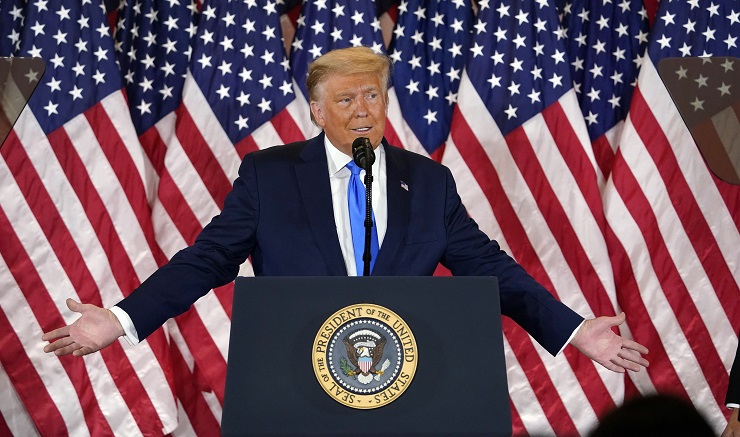 President Donald Trump falsely claiming victory on election night 2020 (Image: AP Photo/Evan Vucci)